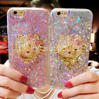 Cute Bling Glitter Diamonds Hello Kitty Ring Holder Stand Case Cover for iPhone