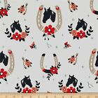 TALL TALES ORGANIC HORSE SHOES WHITE BIRCH CRAFT QUILT FABRIC Free Oz Post