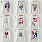 New Women Horse Elephant Dog Print Ink Painting Flannel Sweatshirt pullover tops