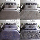 MODERN PAISLEY REVERSIBLE QUILT DUVET COVER BEDDING SET PILLOW CASE BLUE NATURAL
