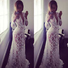 Women's Deep V Neck Lace Embroidery Formal Party Prom Bridesmaid Maxi Dress US