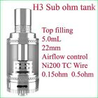 H3 Sub Ohm Rebuildable 5.0ml Tank Adjustable Airflow Temp Control Top Refill