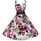 White Floral Strappy Swing Dress 50s Rockabilly Prom Cocktail Swing Dress PLUS