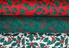 Christmas Fabric HOLLY BERRIES Fabric Crafts Sewing Green Red White