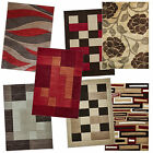 Hand Carved Modern Rugs Funky Beige Brown Terracotta Red Small & Large Rug