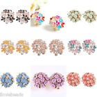 Women Girls Fashion Sweet Ceramic Ear Clip Flower Earrings Jewelry Ladies Gift