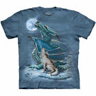 The Mountain DRAGON WOLF MOON T Shirt HOWLING WOLVES DRAGON MYTHICAL Tee S-5XL