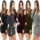 Ladies Womens Ripped COLD Shoulder Ledder MINI Dress Torn Knitted Jumper TOP
