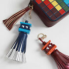 Cute Faux Leather Space Invader Eyes Ghost Pac-Man Tassel Fringe Bag Charm