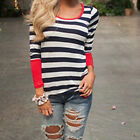 New Women Fashion Slim Stripe Irregular Long Sleeved T-shirt Coat Blouses