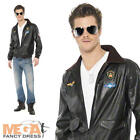 Men's Top Gun Bomber Jacket Fancy Dress Costume 1980s Adult Outfit 80s Accessory