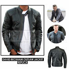 Mens David Beckham BLACK VINTAGE SLIM FIT REAL LEATHER JACKET - NEW HANDMADE