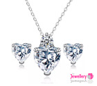925 Sterling Silver 5mm Crystal & Love Hearts Pendant Necklace and Earring Set