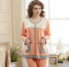 New Cotton 2pcs Women's Sleeping Shirt Long Sleeves Sleepwear Pajama sets M/L/XL