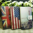 Retro US UK flag Eiffel Tower Wallet Kickstand Flip case cover for Samsung Phone