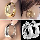 "#C100 NON-PIERCED CLIP-ON 1.2"", 1.35"", or 2"" POLISHED ROUND WIDE HOOP EARRINGS"