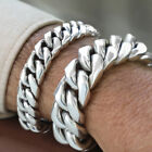 925 Sterling Silver Men Chain Bracelet Mens Biker Heavy Cuban Wide Size 7 8 9 10