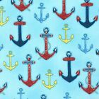 DOWN BY THE SEA NAUTICAL ANCHORS BLUE SEWING CRAFT QUILT FABRIC Free Oz Post