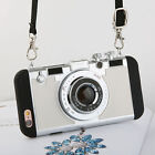 Korean Style New 3D Camera Phone Case For iPhone Inside Silicon Long Strap Rope