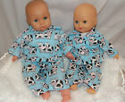 Handmade clothes for Annabell/Baby Doll Pyjamas -Polycotton 2 pce set - Blue Cow