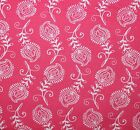 CONTEMPO FEATHERS LEAVES PINK WHITE QUILT SEWING FABRIC *Free Oz Post