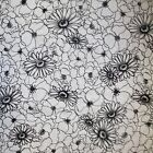 BLACK WHITE FLOWERS FLORAL QUILT CRAFT SEWING FABRIC *Free Oz Post