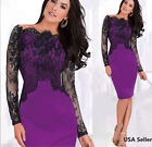 Fashion Women  Lace Long Sleeve Party Evening Cocktail Bodycon  Dress  S