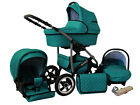 Baby Pram Stroller Buggy Pushchair 3in1 Car Seat Swivel Wheels Pump Wheels 10COL <br/> FORWARD&amp;REAR FACING/Changing Bag/Rain Cover