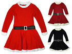 Girls Miss Santa Fur Trim Glitter Xmas Christmas Party Dress 2 to 12 Years