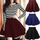 Women Cotton Vintage Stretch High Waist Plain Skater Flared Skirt Dress HY