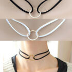 Vintage Leather Choker Charm Necklace Hippy Chocker Goth Necklace for Women