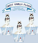 Husky Snow dog breed Puppy Dog Party EDIBLE Cupcake Toppers PRECUT cup cake