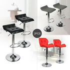Set of 2 Bar Stool PU Leather Hydraulic Swivel Kitchen Counter Chair Bar Table