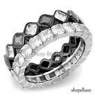WOMEN'S PRINCESS CUT CZ STAINLESS STEEL ETERNITY WEDDING RING BAND SET SIZE 5-10