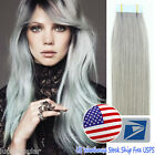 "16""-22""Tape in Skin Weft 100% Remy Human Hair Extensions Silver Grey 20-40Pcs US"