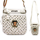 Betty Boop L cross-body cellphone bag set shoulder Rhinestone white messenger