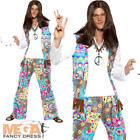 Groovy Hippie Mens Fancy Dress 1970s 70s 1960s Peace Hippy Adults Costume Outfit