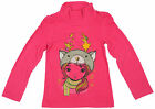 Girls Reindeer Hat Girl Print Roll Neck Top 2 to 8 Years CLEARANCE SALE