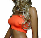 NEON UV FLO Orange BOOB TUBE TOP Strapless Bra Crop BANDEAU Rave Party Club B8
