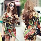 EFFU Colorful V-Neck Long Sleeve Totem Floral Stretch Bodycon Sexy Party Dress