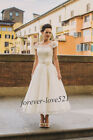 New White/Ivory Lace Tea Length Bridal Gown Wedding Dresses Stock Size 6-16