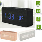 Digital LED Wood Wooden Desk Clock Alarm Snooze Voice Control Timer Thermometer@