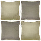 "Basketweave Woven Linen Hessian Effect Plain Piped Cushion Covers, 17"" x 17"""