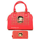 Betty Boop embossed rhinestone shoulder pink boxer wallet bag set purse handbag
