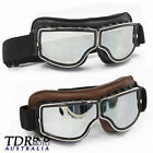 MOTORCYCLE RIDING GOGGLES SILVER LENS HARLEY TRIUMPH SUZUKI CAFE RACER XVS650 $22.06 AUD on eBay