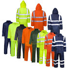 Hi Viz Rainsuit Jacket Trouser High Visibility Waterproof Hooded Rain Suit Set