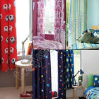 KIDS GIRLS BOYS BEDROOM HEADER TAPE TOP PAIR FULLY LINED CURTAINS FOOTBALL OWLS