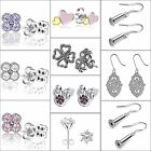 2017 Fashion Silver Ear Stud Crystals Zircon Dangle Hook Earrings 925 Jewelry