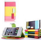 Color Wallet PU Leather Flip Wallet Case Cover For iPhone5 5s - GREEN COLOR