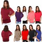Ladies Womens Loose CHIFFON Oversized 2 IN 1 BATWING Blouse Tank TOP UK 8-22